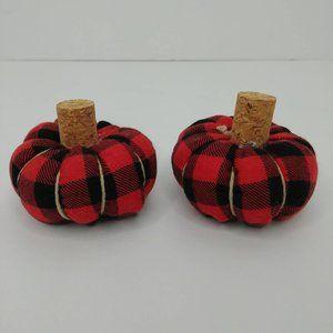 Miniature Red Black Buffalo Plaid Stuffed Pumpkins